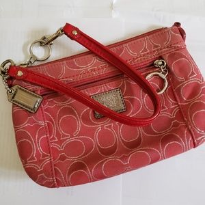 Coach signature c large coral red sparkly wristlet